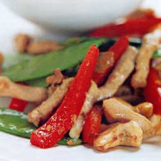Spicy Pork and Cashew Stir-Fry with Snow Peas and Red Pepper Recipe