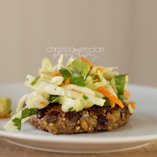 Black Bean Cakes with Cilantro-Avocado-Lime Slaw {gluten, dairy, soy free}.