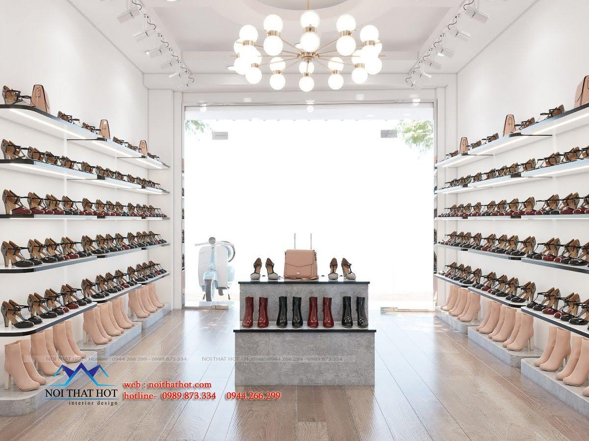 thiết kế shop giày dép nữ đẹp mắt