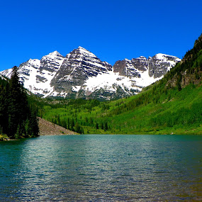 Maroon Bells outside of Aspen, Colorado by David Hughes - Landscapes Mountains & Hills