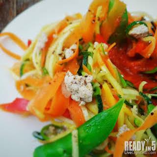 Tuna, Snap Pea and Vegetable Pasta Salad.