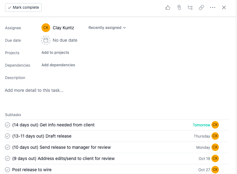 Screenshot of press release template in project management software Asana