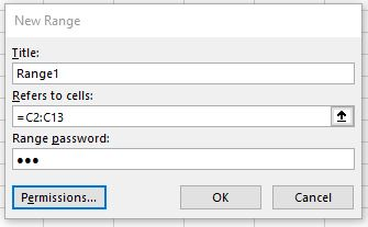 Enter your Range Title, Range reference and Range Password in the New Range window