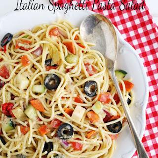 Italian Spaghetti Pasta Salad with Creamy Parmesan Dressing