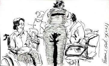 Photo: 女收容人看診2011.10.24鋼筆 女監外醫總會找一位男監同事協勤,今天十分榮幸能有這機會,只是女同事看了畫臉非常臭地說:畫得不好看! 我笑著什也沒說但心想:因為很寫實!