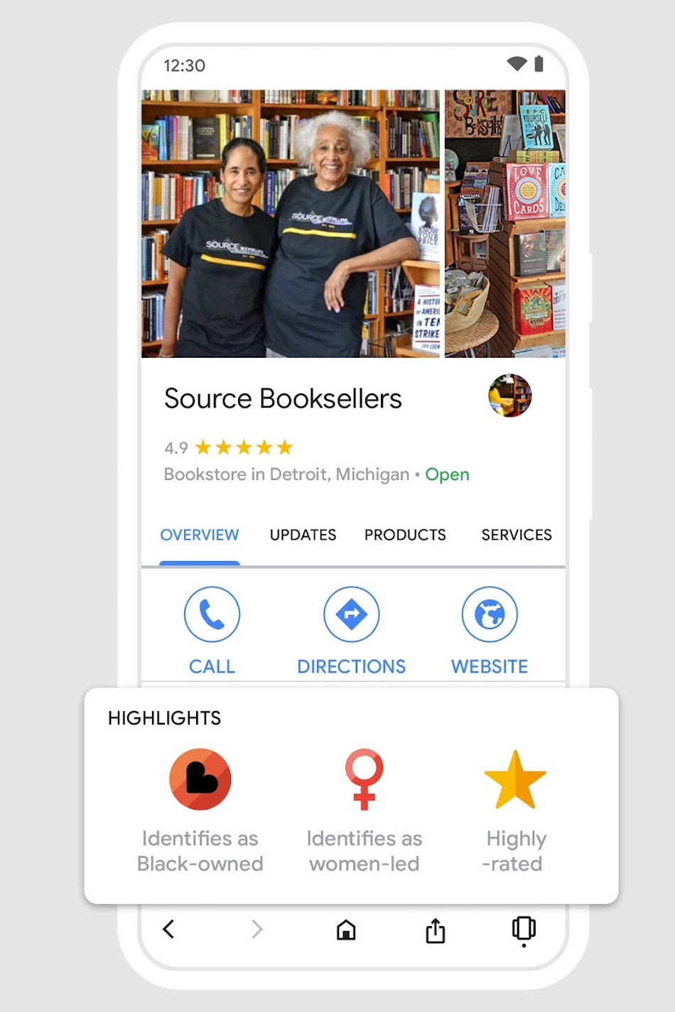 Phone screen showing black-owned business attribute on Google Maps, featuring photo of two people from Source Booksellers.