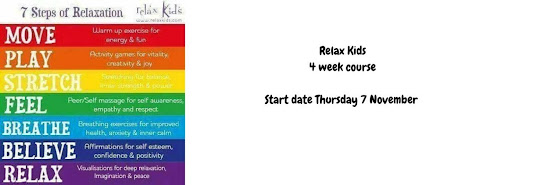 Relax Kids 4 week course for Key Stage 1 and Key Stage 2 - starts Thursday 7 November