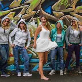Happy girls at bachelorette party by Morten Pettersen - People Group/Corporate ( girls, joy, bachelorette party )