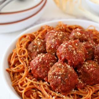 Mama's Best Ever Spaghetti and Mozzarella Meatballs.