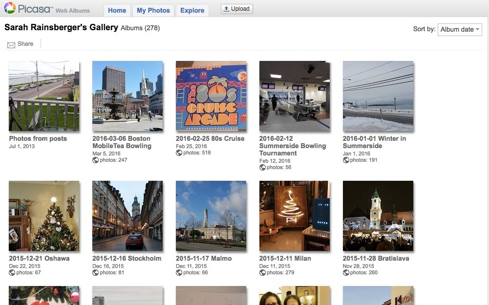What PicasaWeb Gallery public page used to look like