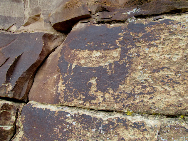 Weathered petroglyph