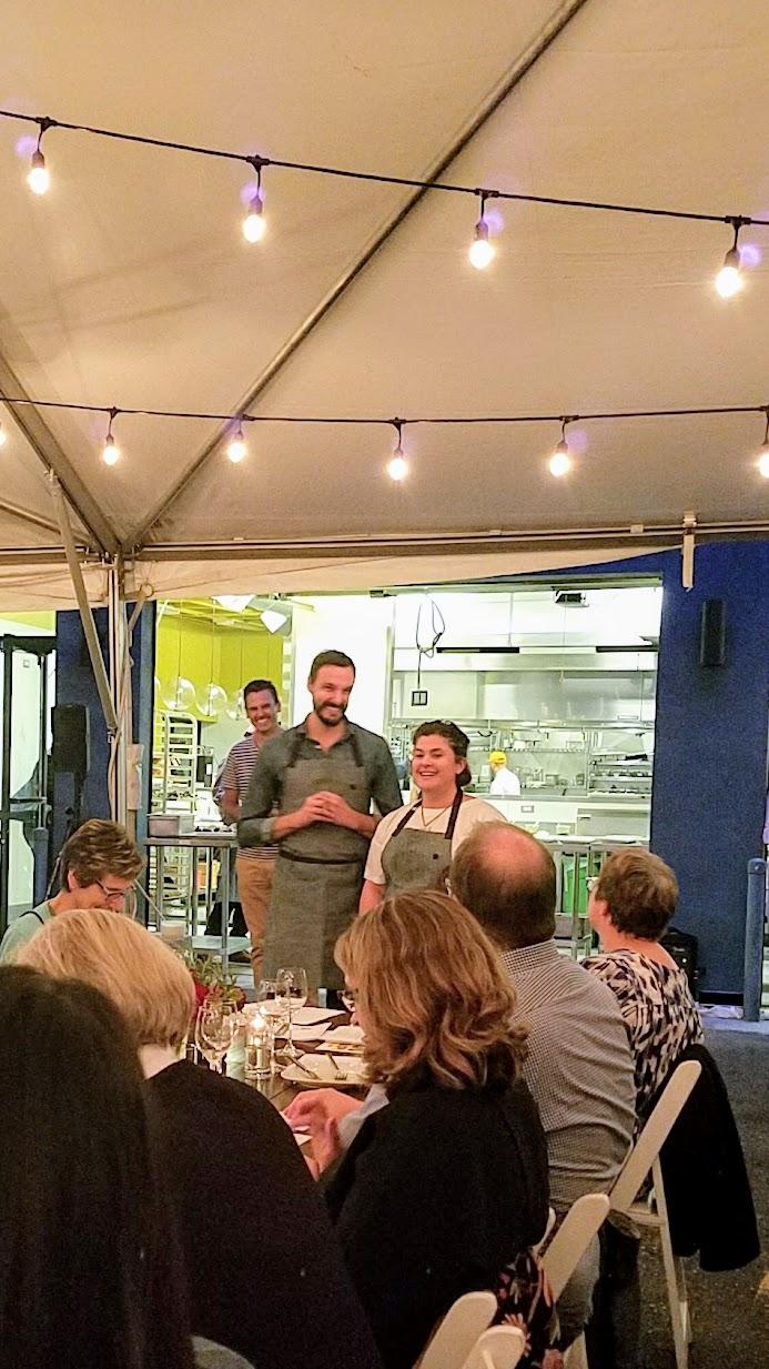 Feast Portland 2017 Bon Appétit Hot Ten Dinner, Local Albacore Crudo with Green Coriander Yogurt, Cucumber, and Dukkah by Renee Erickson of Walrus & The Carpenter