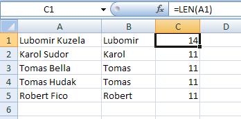 Excel: Práca s textovými reťazcami v bunkách 7