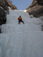 Photo: We each did a couple laps while belaying next to the frozen river.