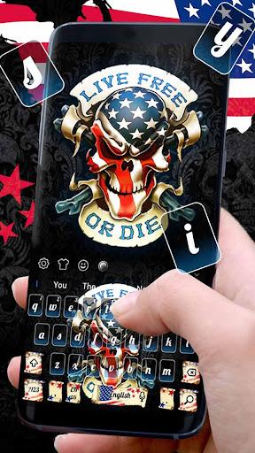 Live or die USA Skull Keyboard Theme 10001002 screenshots 2