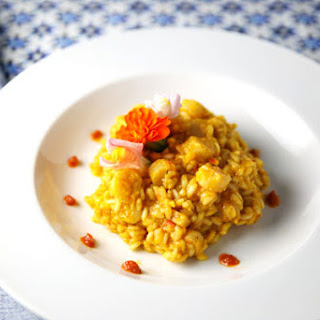 Bay Scallops with Bell Peppers and Ginger Risotto Recipe