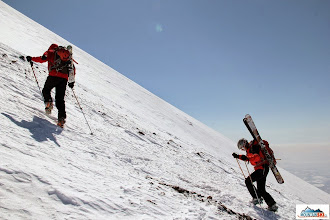 Photo: Matus & Mirka - strong duo from Visnove - on the crampoons towards to the summit of Avachinsky