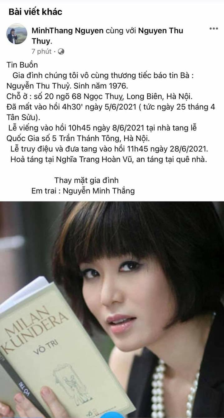 Nguyễn Thu Thủy - Hoa Hậu Việt Nam 1994 qua đời vì đột quỵ ở tuổi 45