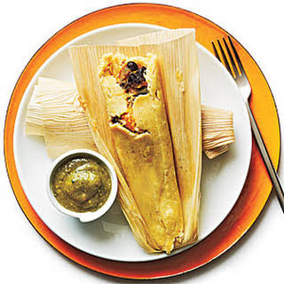 Black Bean and Sweet Potato Tamales with Tomatillo Sauce.