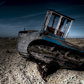 by Jade Newman - Transportation Boats ( old, long exposure, beach, boat, abandoned )