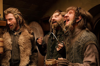 Photo: Fili, Nori and Ori share a song at Bag End.