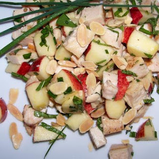 Colorful, Crunchy Apple and Chicken Salad With Fresh Mint and Basil.