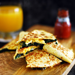 Spinach, Mushroom And Egg Quesadilla