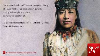 Photo: For shame! For shame! You dare to cry out Liberty, when you hold us in places against our will, driving us from place to place as if we were beasts. —Sarah Winnemucca (ca. 1844 – October 17, 1891), Paiute Writer & Activist #WomenWednesday