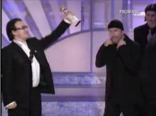 A screenshot from the 2003 Golden Globes where he used the f-bomb on international television.