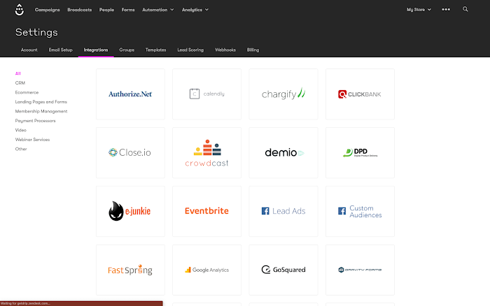 Settings Integrations page