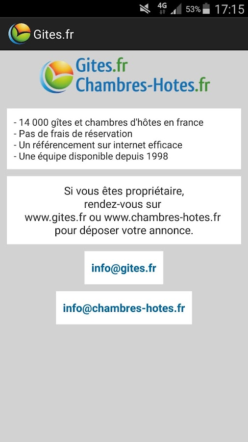 gîtes et chambres d'hôtes - android apps on google play