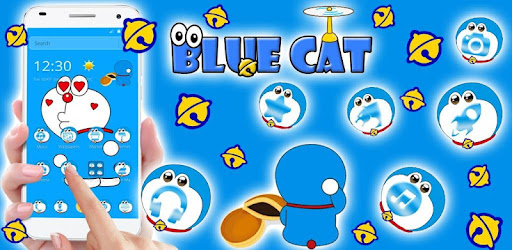 Kawaii Blue Cute Cat Cartoon Wallpaper Theme Aplikasi Di