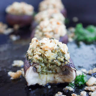 Kale Pesto Stuffed Mushrooms.