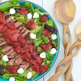 Roasted Balsamic Strawberry & Peppered Steak Salad.