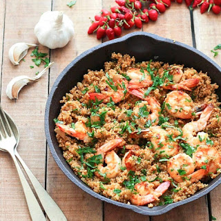 Spicy Garlic Shrimp and Quinoa.
