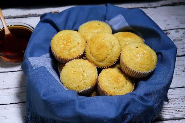 A Basket Of Honey Cornbread Muffins.
