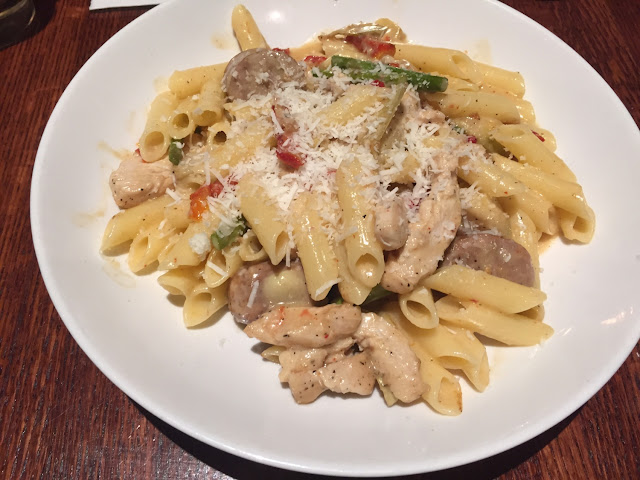 Pappardelle pasta (made with Gf penne) with sweet sausage added.