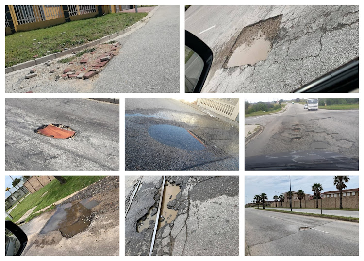 A collage of some of the potholes posted on the Facebook page 'Pot Holes of Nelson Mandela Bay'