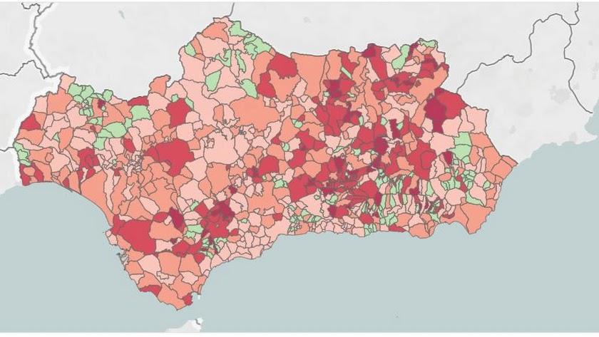 Mapa de la incidencia del coroavirus en los municipios andaluces.