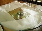 Place sheets of wax paper on serving plate,such as a cake stand. The paper...