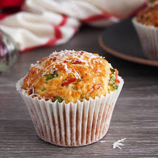 Savory Muffins with Parmesan, Bacon and Spring Onions.