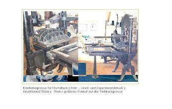 Photo: Kniehebelpresse für Hochdruck (Holz -, Linol -und Experimentaldruck) Druckformat 50cm x 70cm / größeres Format auf der Tiefdruckpresse