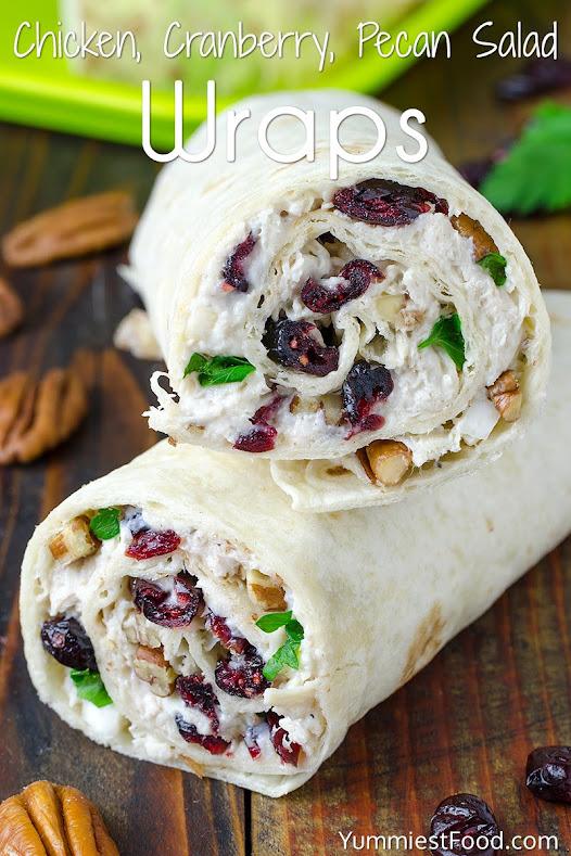 Chicken Cranberry Pecan Salad Wraps