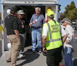 Photo: Bruce (KI6CYT), Jerry (KT6CRT) and Sam (KJ6AF) showing Jim Tiemstra (K6JAT) and Bob Vallio (W6RGG) the MDU.