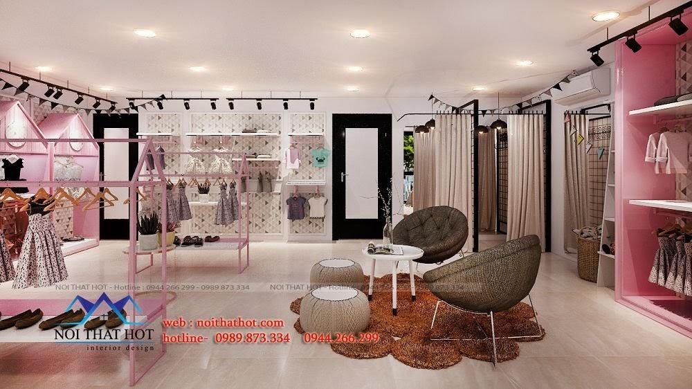 thiết kế shop thời trang màu hồng
