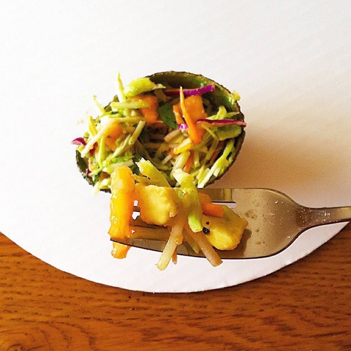 vivid lustrous Papaya Avocado Slaw