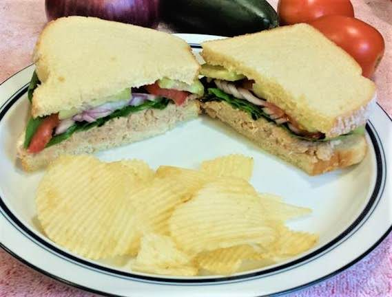 Salmon Salad Sandwich W/cucumber, Spinach & Tomato Recipe