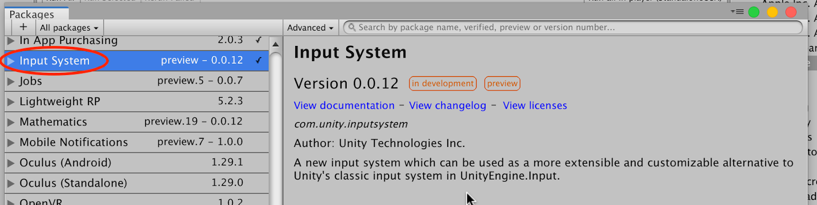 Install Input System Package
