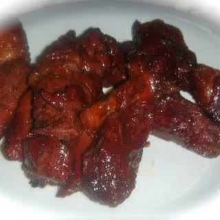 Oven Grilled BBQ Boneless Beef Ribs.