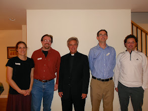 Photo: Darcy Stubblefield, Rob Stubblefield, '93, Abbot Michael, '68, Scott Belina, '89 and Bob Ostronic, '91, present but not pictures are Jerry, '63 and Linda Henry